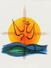 Taube, Sonne und Wasser als Motiv